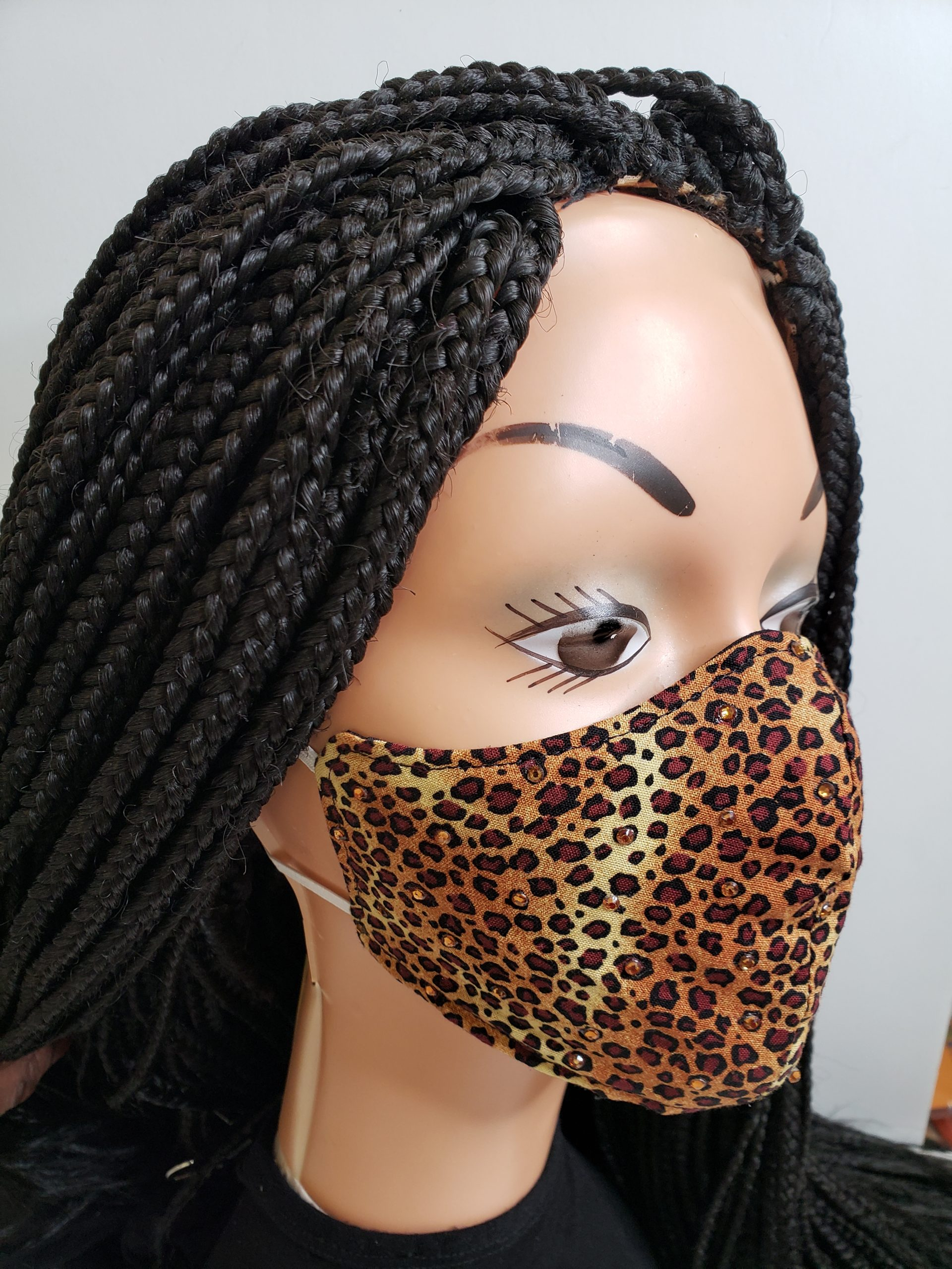beind the ear elastic  mask leopard animal print
